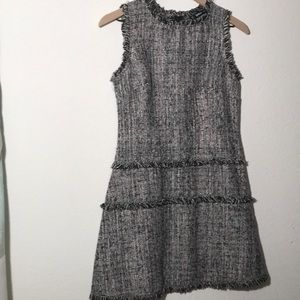 Shein tweed dress with frayed details, S
